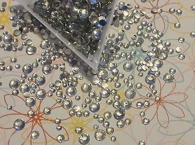 500 Pcs. Flat Back Resin Faceted CLEAR RHINESTONES  3mm 4mm 5mm 6mm MIXED SIZES