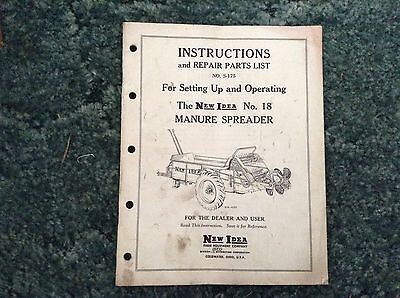S-175 - Is A New Original Parts Manual For A New Idea No. 18 Manure Spreader