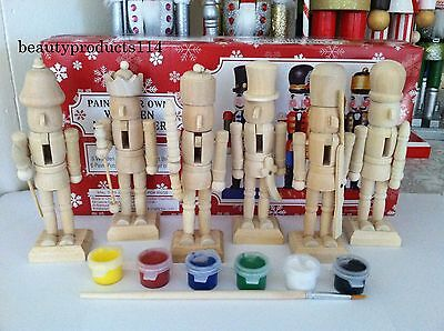 """DIY Paint Your Own 5"""" Unpainted Wooden Christmas Nutcracker Craft Kit Free ship"""