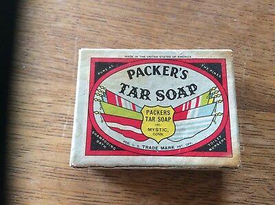 Packers Tar Soap (Vintage Packers Tar Soap Bar Advertising Soap & Box, Mystic,)