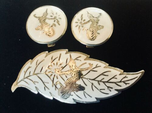 Vintage Siam Niello Enamel Mekkala Sterling Silver 925 Thai Pin & Earrings Set