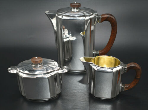 Gallia Christofle 3-Piece Tea/Coffee Set~Art Deco 5938~Rosewood Handles~Xllnt