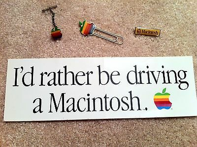 Vintage Apple Rainbow Logo Paper Clip, Tie Tack, Macintosh Pin & Bumper Sticker