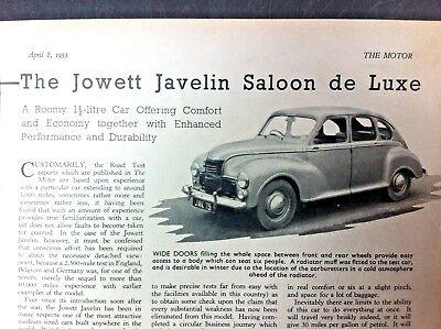 JOWETT JAVELIN SALOON Series III - 1953 - Road Test removed from The MOTOR
