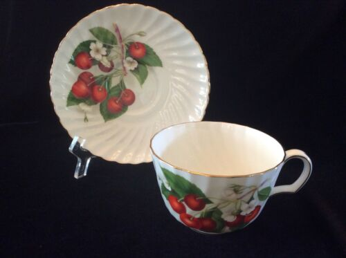 ADDERLY - Cherry Ripe- #H1285 - Bone China - Tea Cup & Saucer ~ SHIPS FREE
