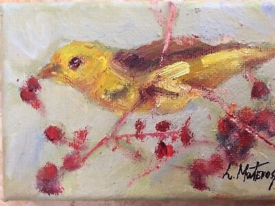 """original daily oil painting  bird 4""""x6"""" stretched canvas impressionism"""