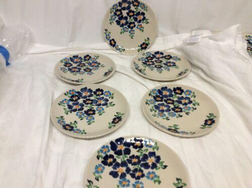 Boleslawiec  Handmade Polish  Pottery, 7 salad plates, rare pattern