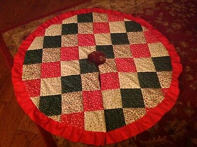 "Christmas Tree Skirt 46"" Round Patchwork, Reversible, Quilted Red/Green/White"