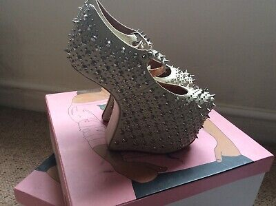 Jeffrey Campbell Prickly Wedge nude calf leather size 36 3 original box🍒
