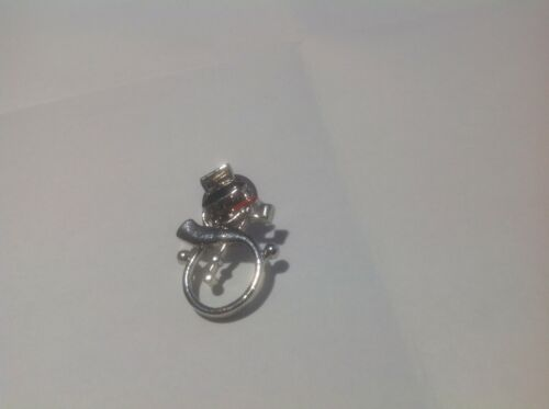 Silver Open Work  Outlined  Snowman Lapel Tie Tac Pin With Pipe Abd Black Eyes