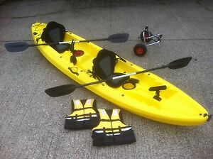 New sit on top double tandem river sea fishing kayak canoe for Tandem fishing kayak for sale