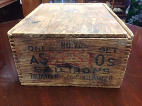Antique ASBESTOS Sad Irons 72-b with Original Box, Dover Mfg. Canal Dover