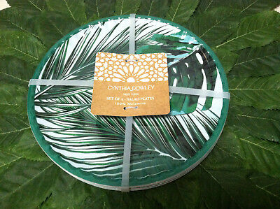 Tropical Plates (NWT 6 Cynthia Rowley Melamine Tropical Palm Leaves Salad Appetizer Plates)