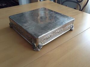 Square silver-plate cake stand 30$