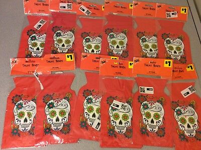 Lot of 240 Treat Bags Cello Candy Bags with Ties Day of the Dead Skull Halloween