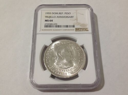 1955 NGC MS64 Dominican Republic 1 Peso . Great luster .