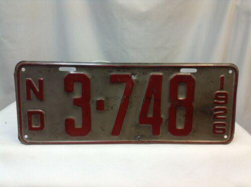 1926 North Dakota License Plate 3-748 Original