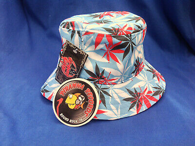 Black/White/Red Weed Leaf Printed Blue Full-Brim Bucket Hat ONE SIZE Piranha - Red Bucket Hats