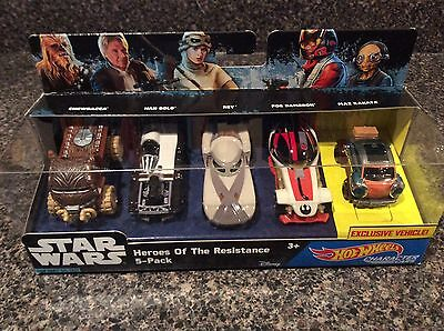 Star Wars Heroes of the Resistance 5 Car Pack Hot Wheels Official NIB