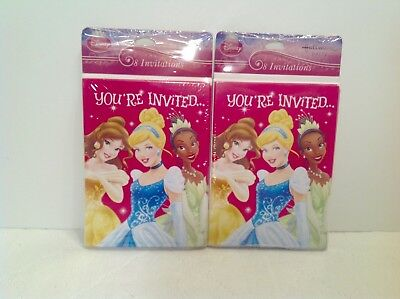 2 Packs NEW Hallmark Disney Princess Birthday  Party Invitations Cards 8 Count
