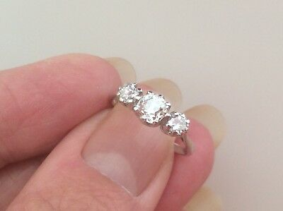 EXCEPTIONAL 18ct WHITE GOLD .84ct DIAMOND TRIOLOGY RING.S N-N1/2.
