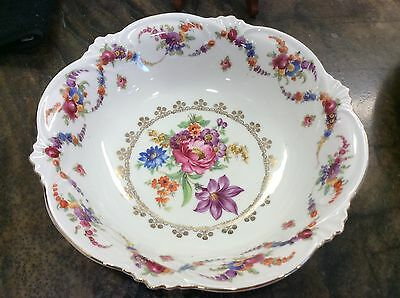 Vintage Bavarian Porcelain Bowl With Hand Painted Roses Germany 9-3/4