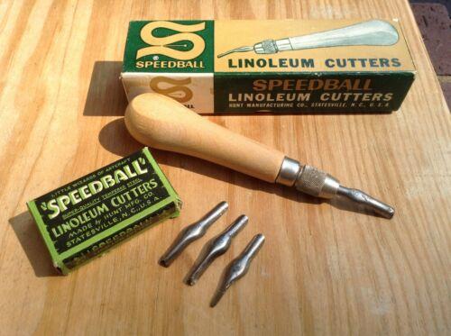 Vtg Speedball linoleum cutter No. 1 No. 4131 original box & 4 blades pre-owned
