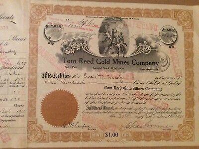 Territory of Arizona Mining Stock Certificate Tom Reed Gold Mines 1909     $.99 (1909 Stock)