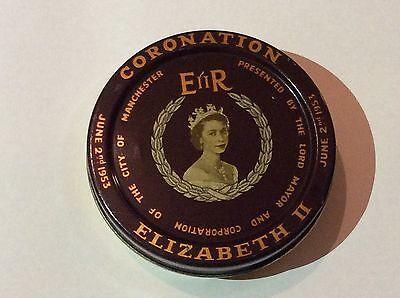 1953 Queen Elizabeth 11 Manchester Coronation Tin with Coin