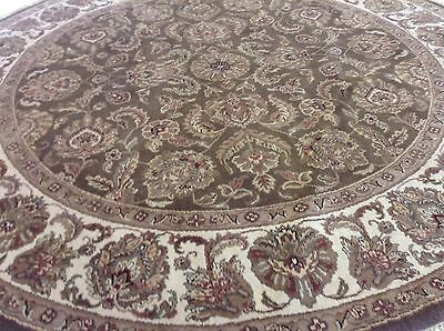 (8 x 8 Round Brown Agra Persian Oriental Area Rug Fine Hand Knotted Wool Capet)