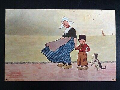Carte postale fantaisie chat enfants Hollande série 840