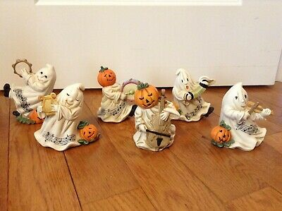 Halloween Musical Instruments (Vintage Ceramic Bisque Halloween Ghosts Playing Musical Instruments Set (6))
