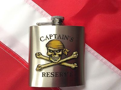 FLASK Captains Reserve 6oz  pirate fun novelty valentines gift travel booze - Pirate Flask