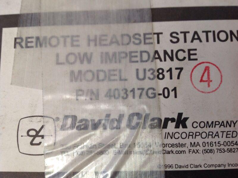 David Clark Remote Headset Station 40317G-01