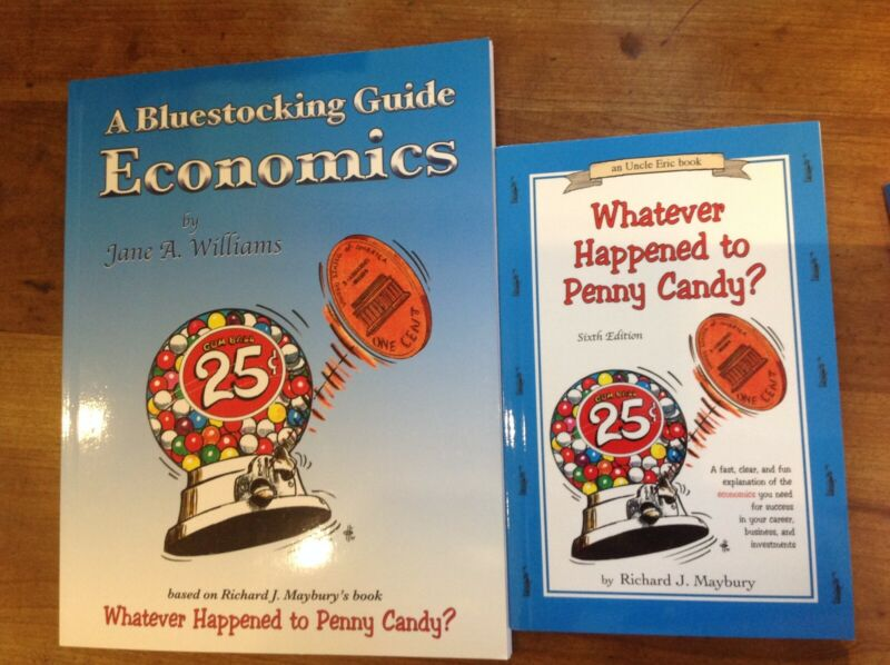"""""""A Bluestocking Guide: Economics"""" and """"Whatever Happened to Penny Candy"""" set."""