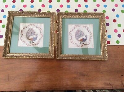 Two Framed embroidered peacocks