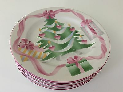 SANGO HOME FOR CHRISTMAS DINNER PLATE Candles TREE PINK Set Of 5