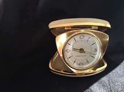 Vintage Westclox Travel Alarm Clock Leather covered hard case light up WORKS