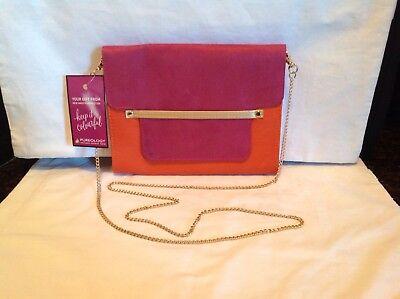Pureology Orange And Pink Purse Clutch Handbag Cosmetics Beauty Chain Strap WOW - Orange And Pink