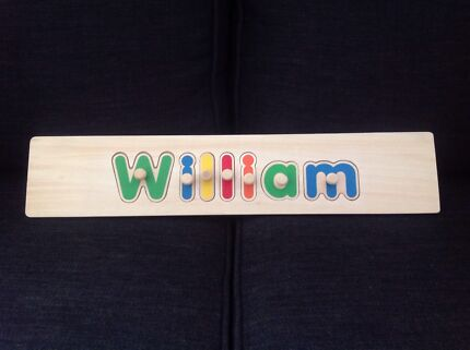 """""""William"""" Wooden Name Puzzle NEW Spring Farm Camden Area Preview"""