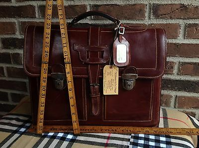 VERY RARE VINTAGE 1930s ENGLAND MADE SADDLE HARNESS LEATHER BRIEFCASE BAG R$1195