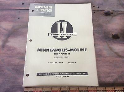 I T Shop Manual Minneapolis Molin Uni Tractor Model L 1955 Country Farm