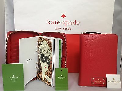 NWT Kate Spade Cherry Red Wellesley 2017 Zip Personal Organizer Planner Agenda