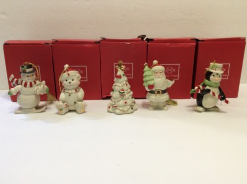 "Set of 5 Lenox  4""  Porcelain Very Merry Christmas Ornaments Holiday"