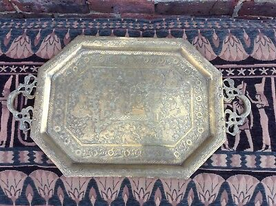 Vintage Brass tray. Eastern design. Decorative. large. Classy. Distinctive.