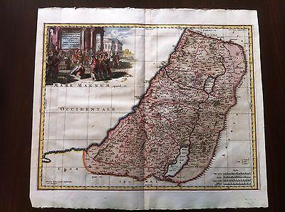 Antique HOLY LAND  Map , Sanson 1704 , Hand Color , Israel , Palestine