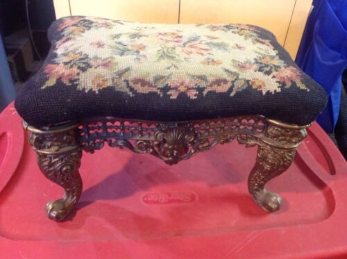 Antique Victorian Gold Iron Acanthus Footstool with Needlepoint Rose Motif