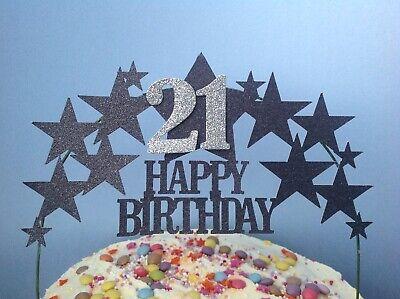 BLACK STAR Birthday Cake Decoration Glitter Topper Silver
