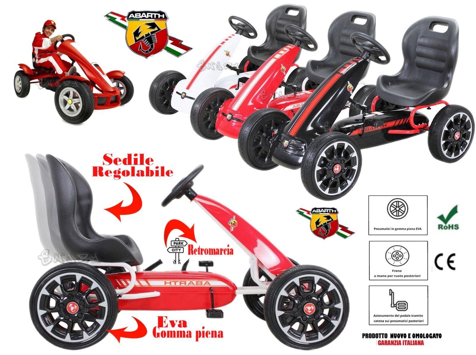 Go Cart Go Kart für Kinder A Pedale Bremse E Kupplung Abarth Rot Weiß Schwarz