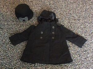 Toddler Girls Dress Coat and Hat